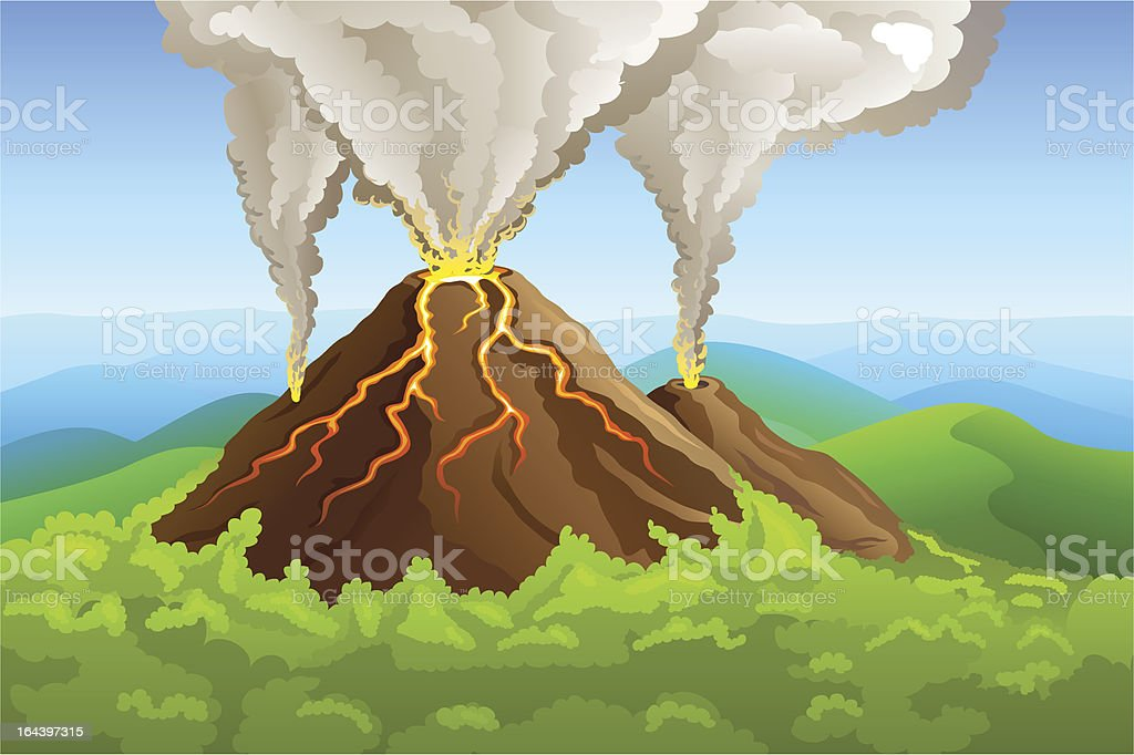 fuming volcano among green forest royalty-free stock vector art