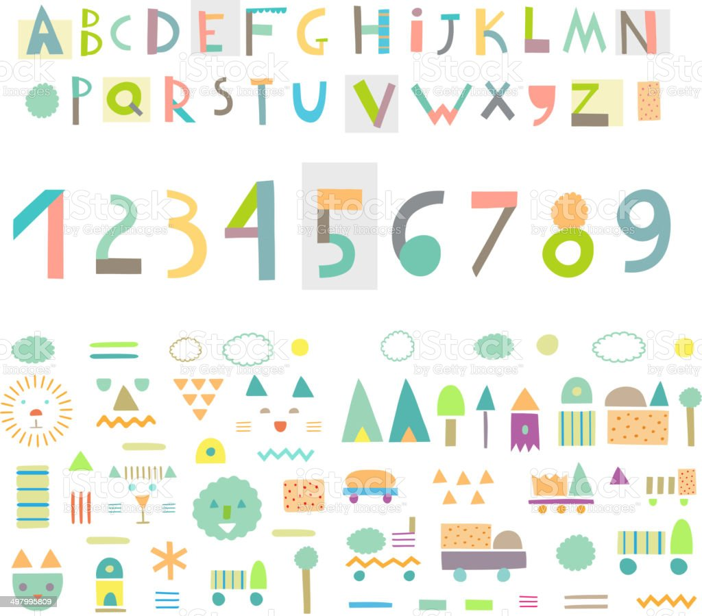 Fun and cute paper cut alphabet and figures. Isolated. Vector vector art illustration