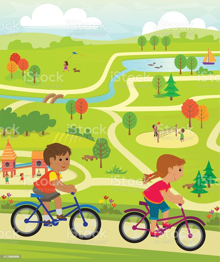 Fun At The Park vector art illustration