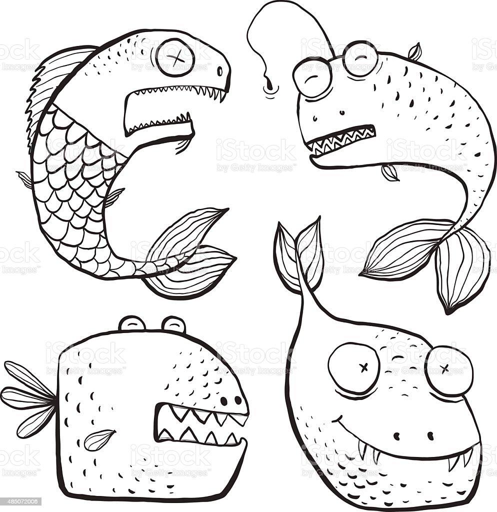 Fun noir et blanc Art ligne poisson caract¨res livre de coloriage stock vecteur libres de droits