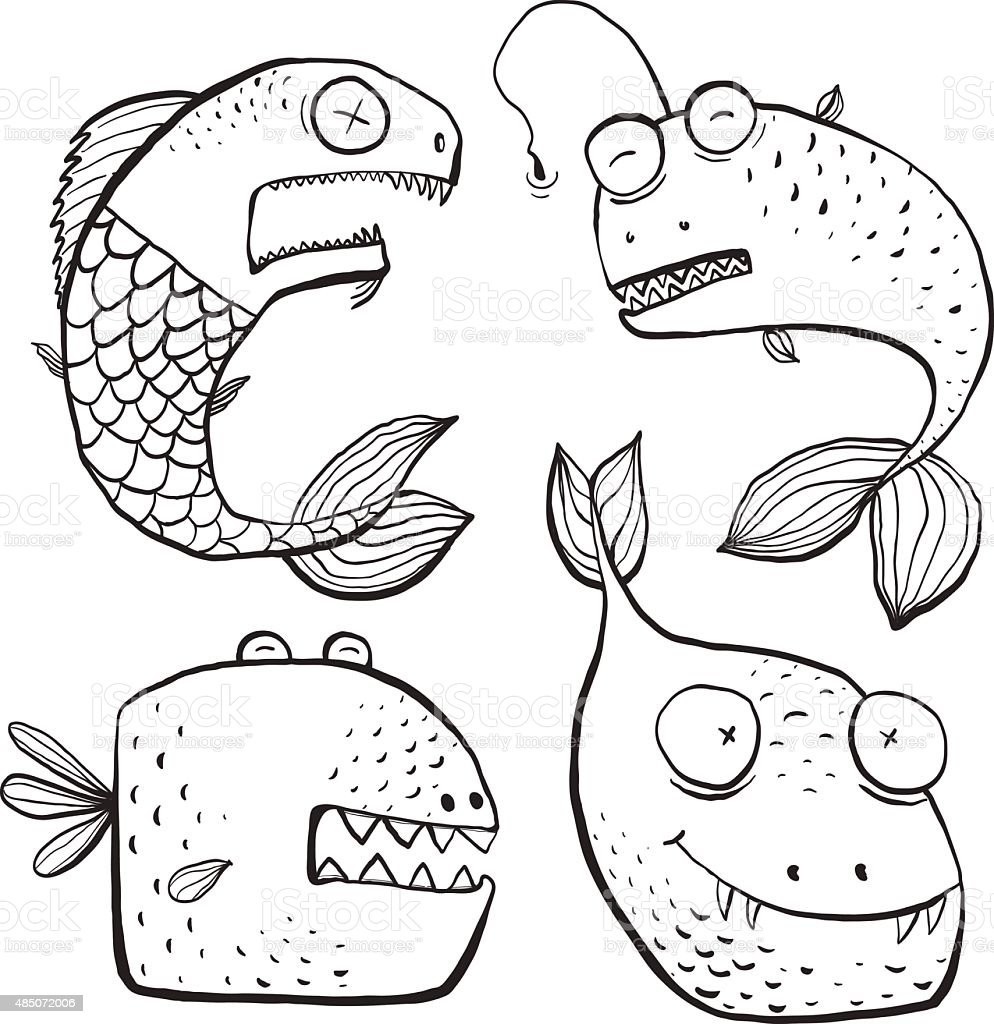 Fun Black and White Line Art Fish Characters Coloring Book vector art illustration