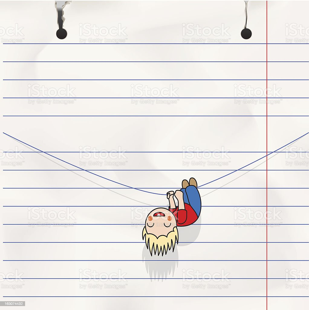 Fun boy hanging on the rope, child's notebook page royalty-free stock vector art