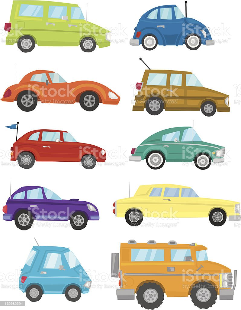 Fun Cars vector art illustration