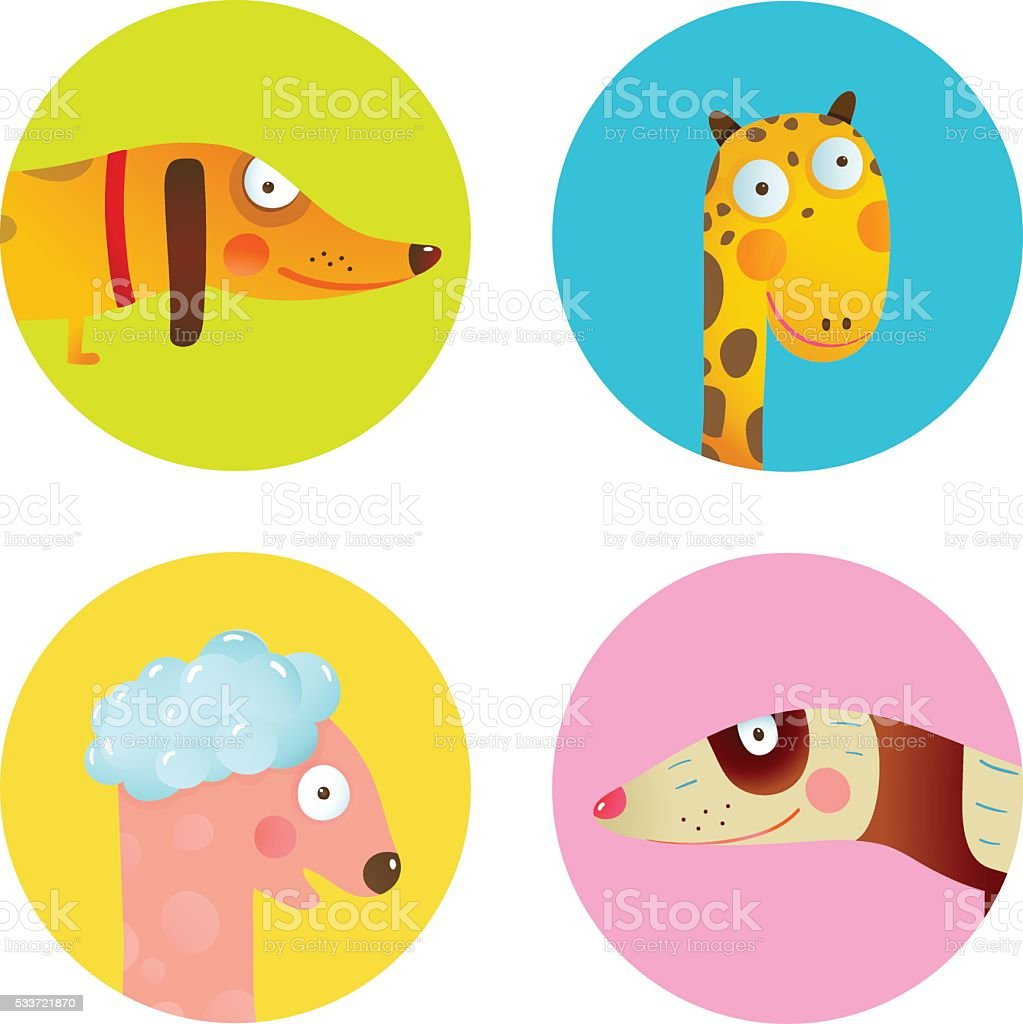 Fun Cartoon Baby Animals Icons Collection Set for Children Design vector art illustration