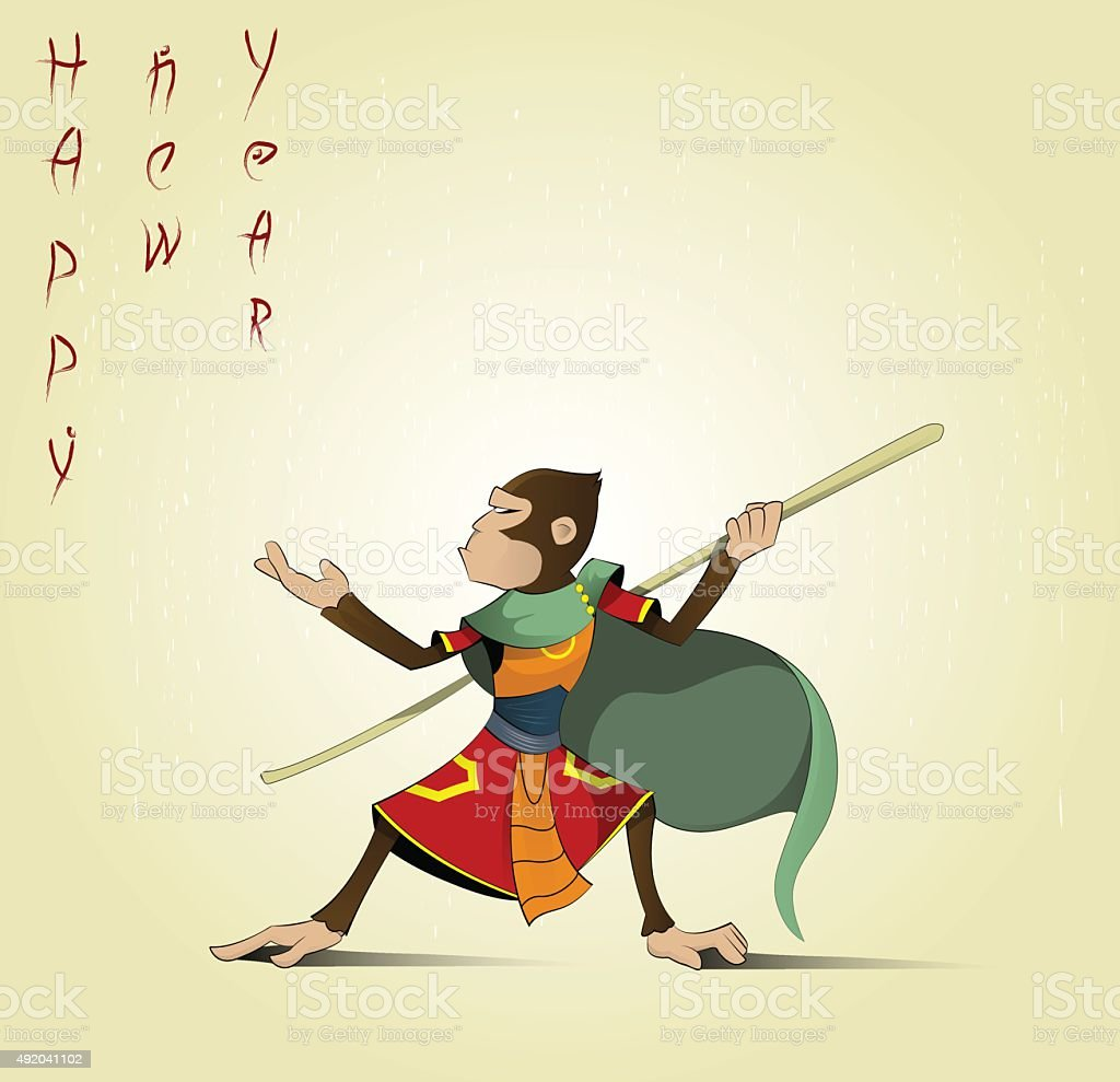 Fun cartoon Hanuman vector art illustration