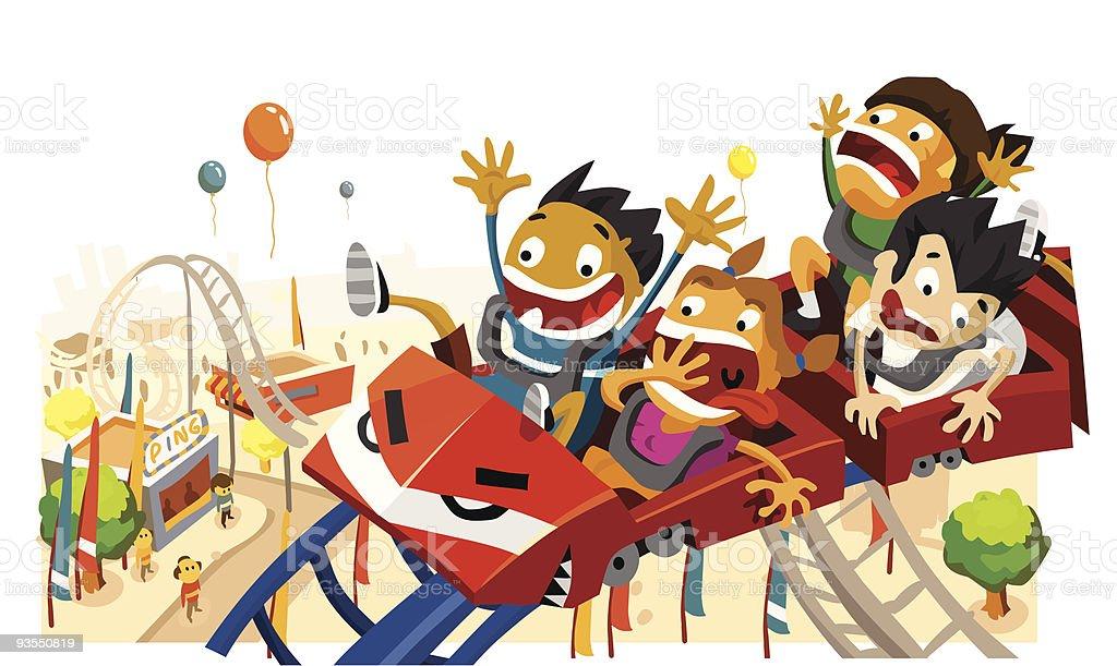 Fun Children on Roller Coaster vector art illustration