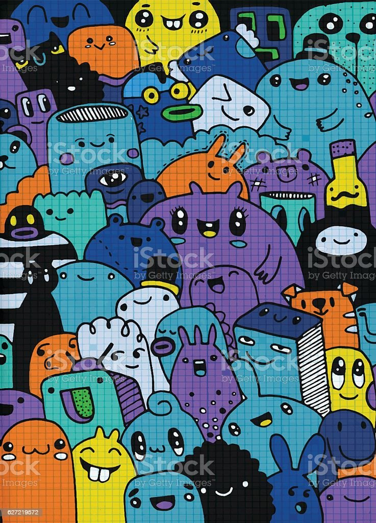Fun Cute Cartoon Monsters for Kids Design Collection ,Hand drawn vector art illustration