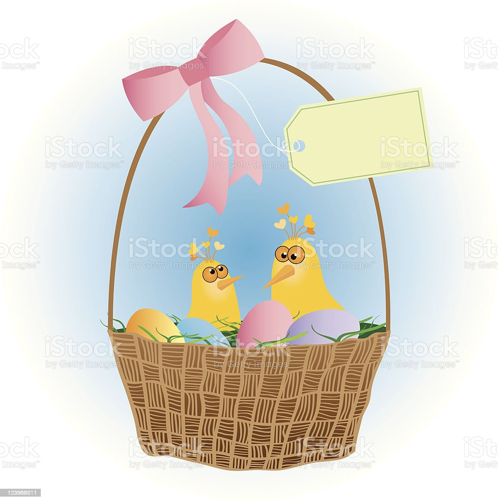 Fun Easter Basket with Chicks royalty-free stock vector art