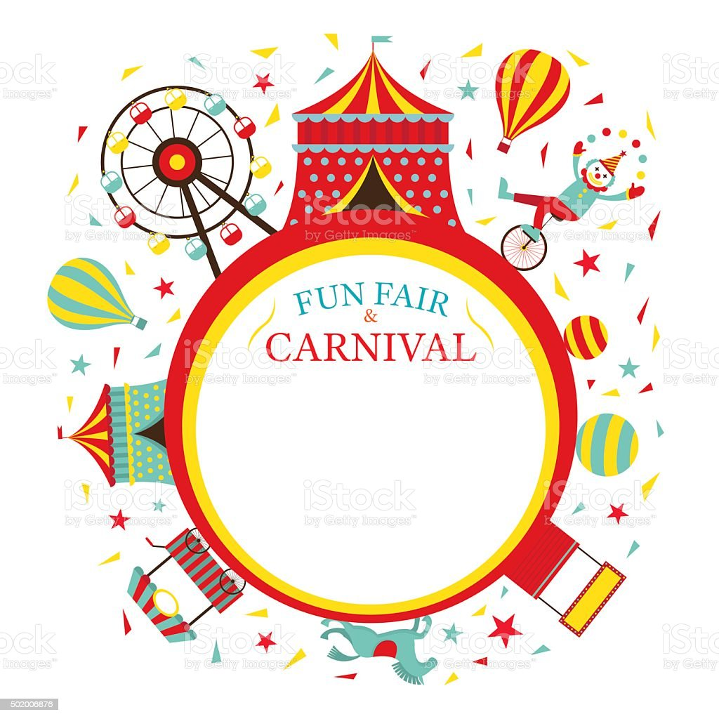 Fun Fair, Carnival, Circus, Round Frame vector art illustration