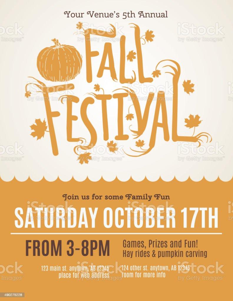 Fun Fall Festival Invitation Flyer vector art illustration