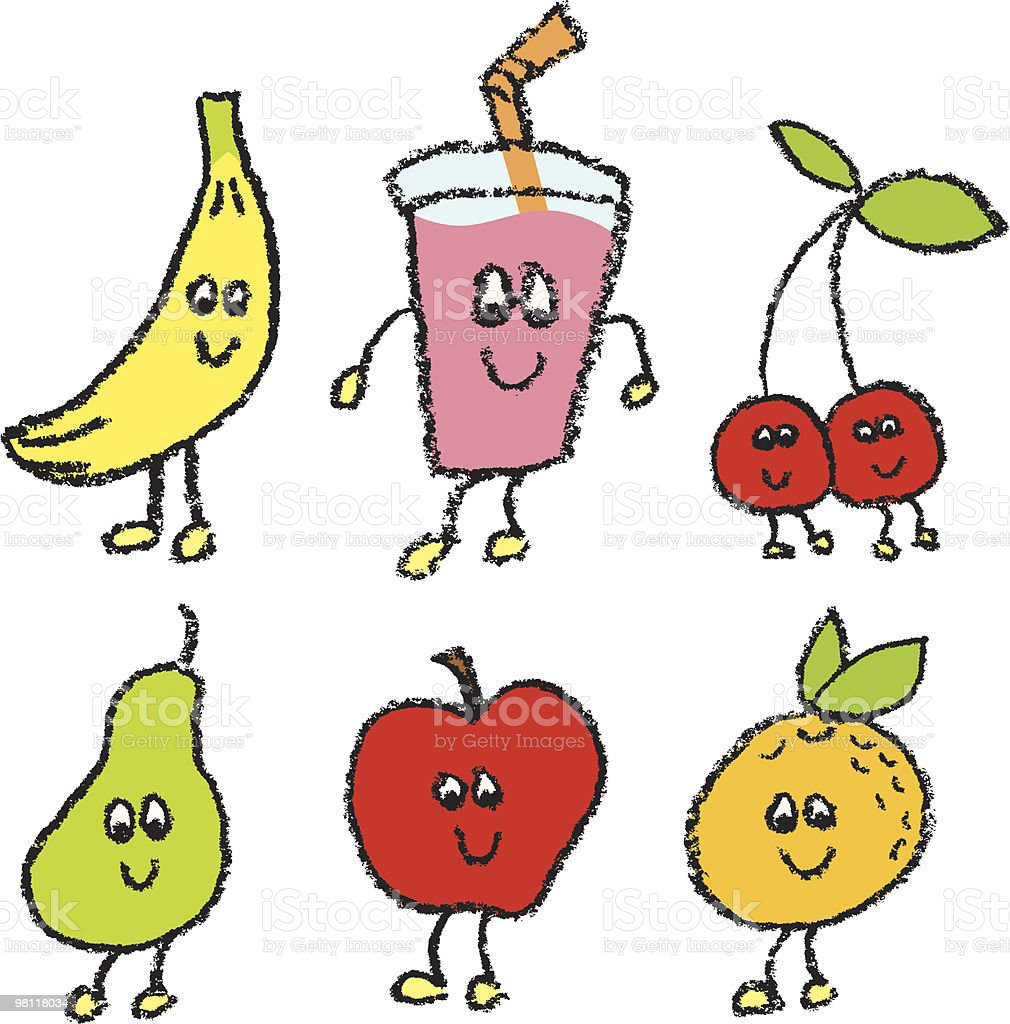 Fun Fruit and Smoothie vector art illustration