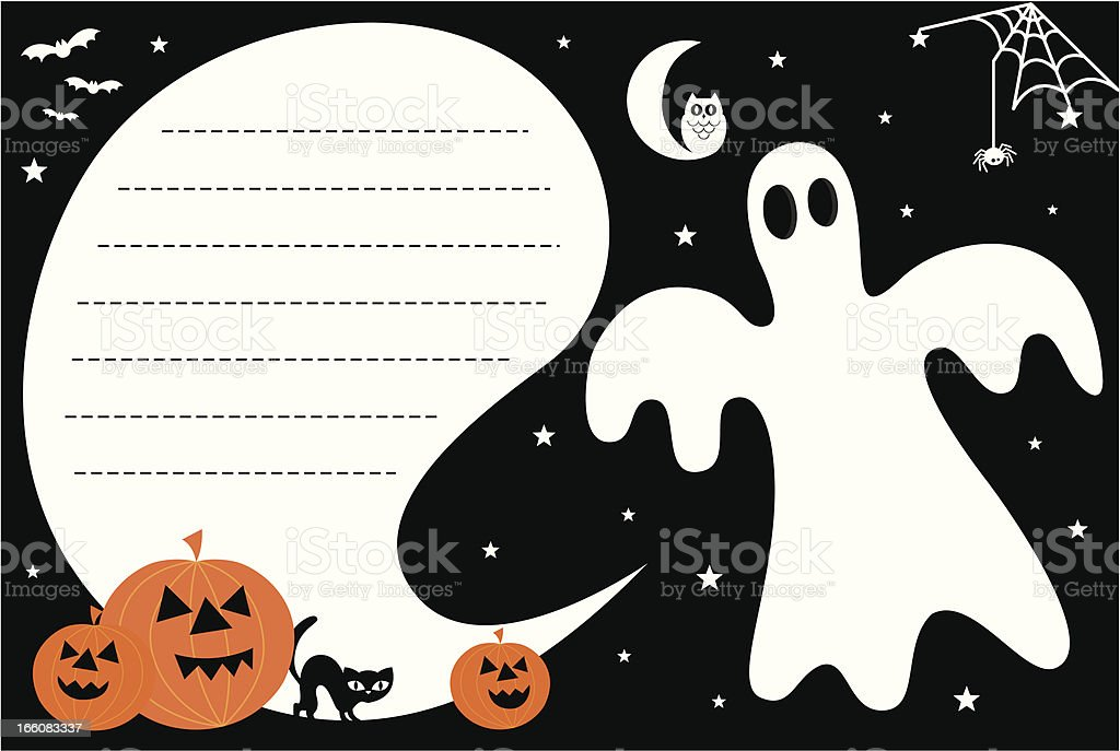 Fun Halloween Ghost Invite with Copy Space royalty-free stock vector art
