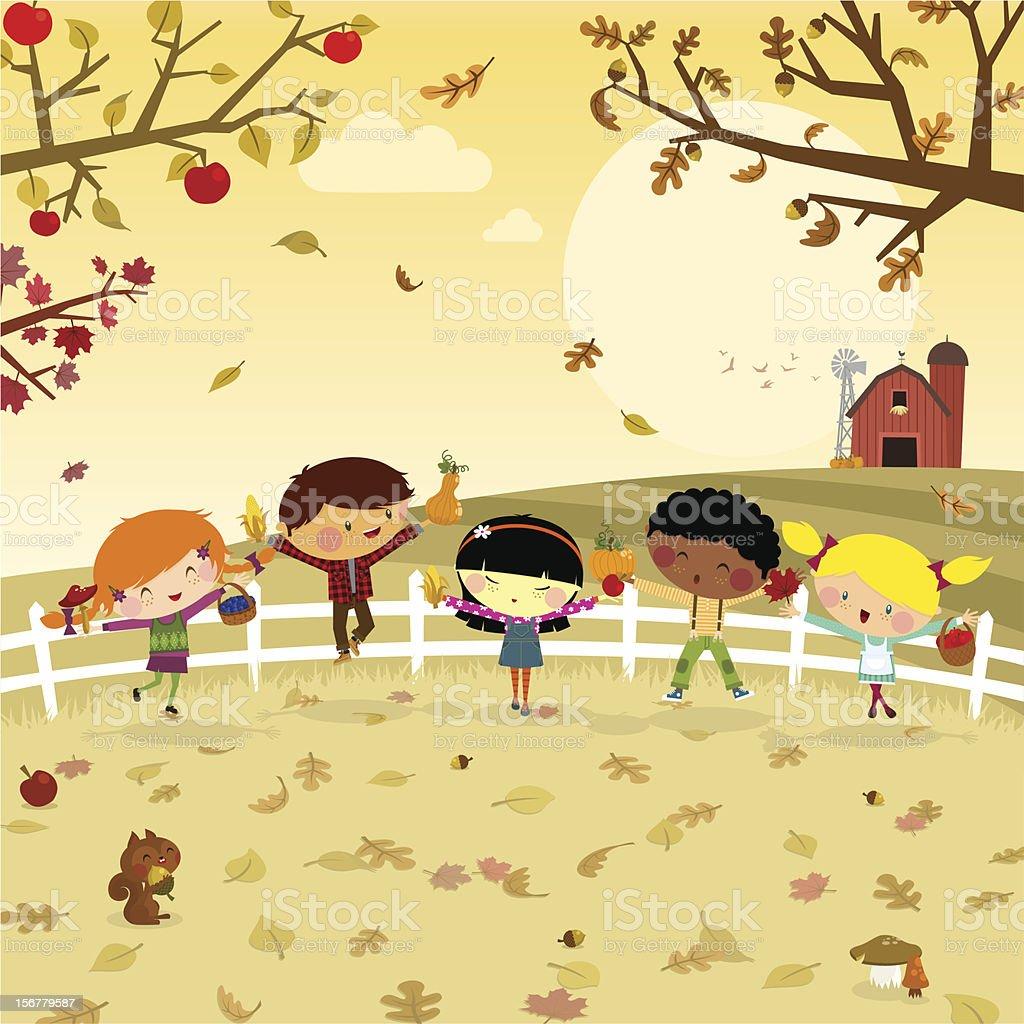Fun harvest. kids fall autumn illustration vector vector art illustration