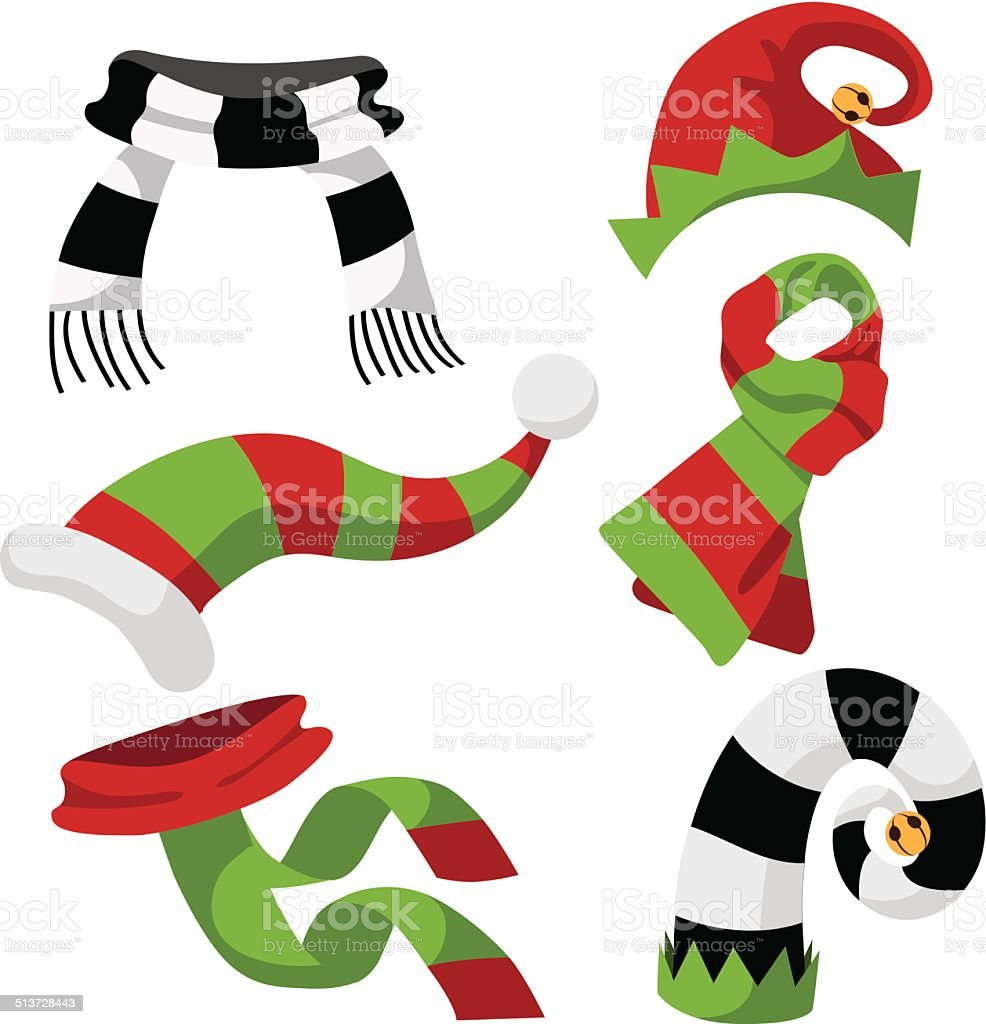 fun holiday hats and scarves vector art illustration