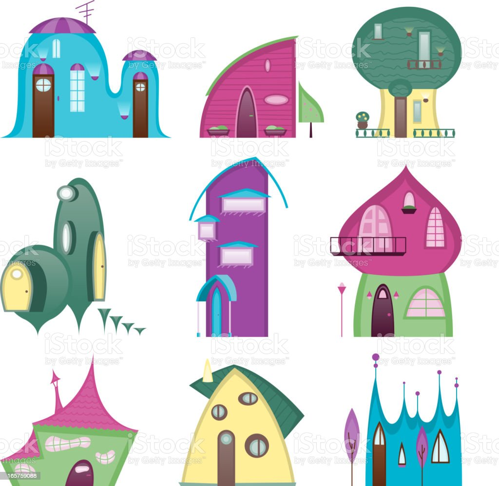 Fun houses Story time Set royalty-free stock vector art