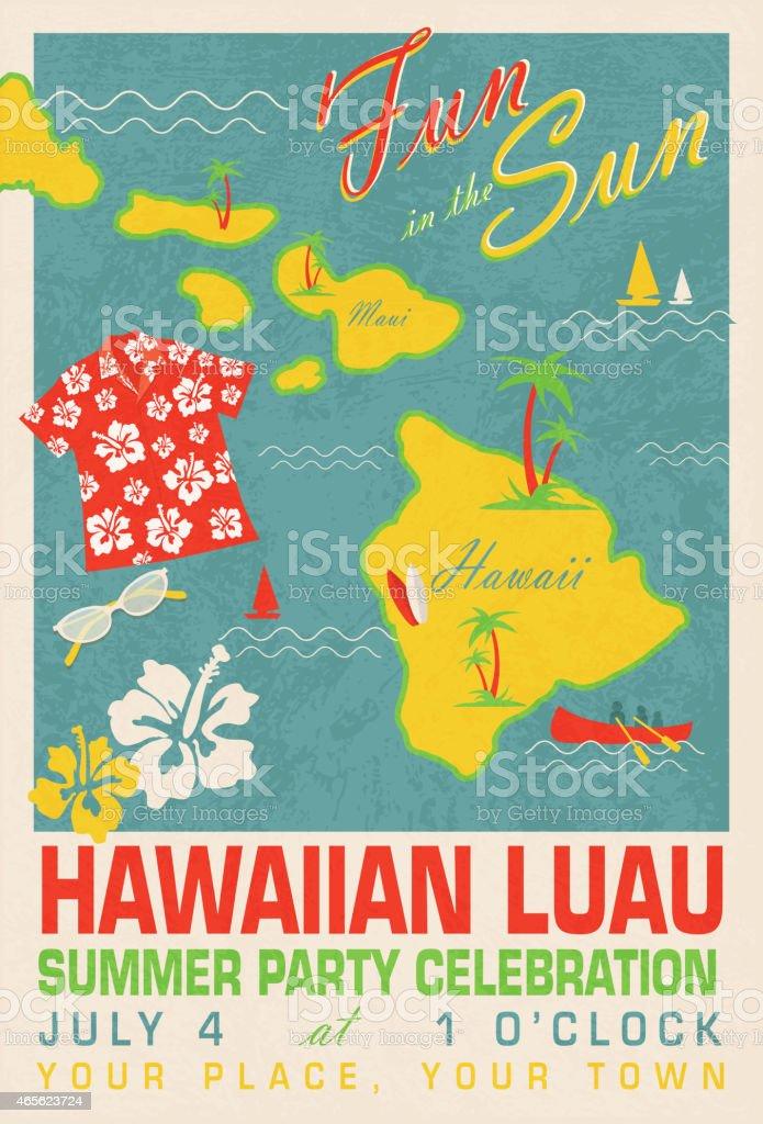 Fun in the Sun Retro Hawaiian Luau  design invitation template vector art illustration
