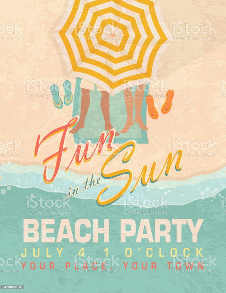 Fun in the Sun sand Beach party template invitation design vector art illustration