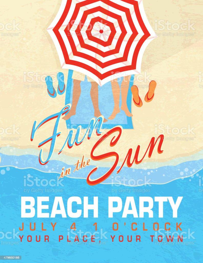 Spaß In Der Sonne Und Sand Beach Party Einladung Design Vorlage  Lizenzfreies Vektor Illustration