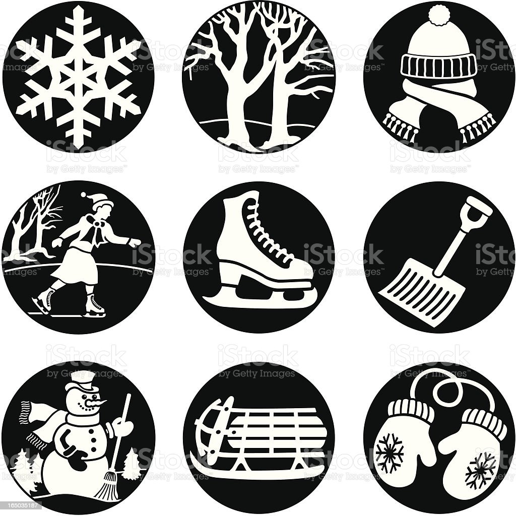 fun in the winter icons reversed royalty-free stock vector art