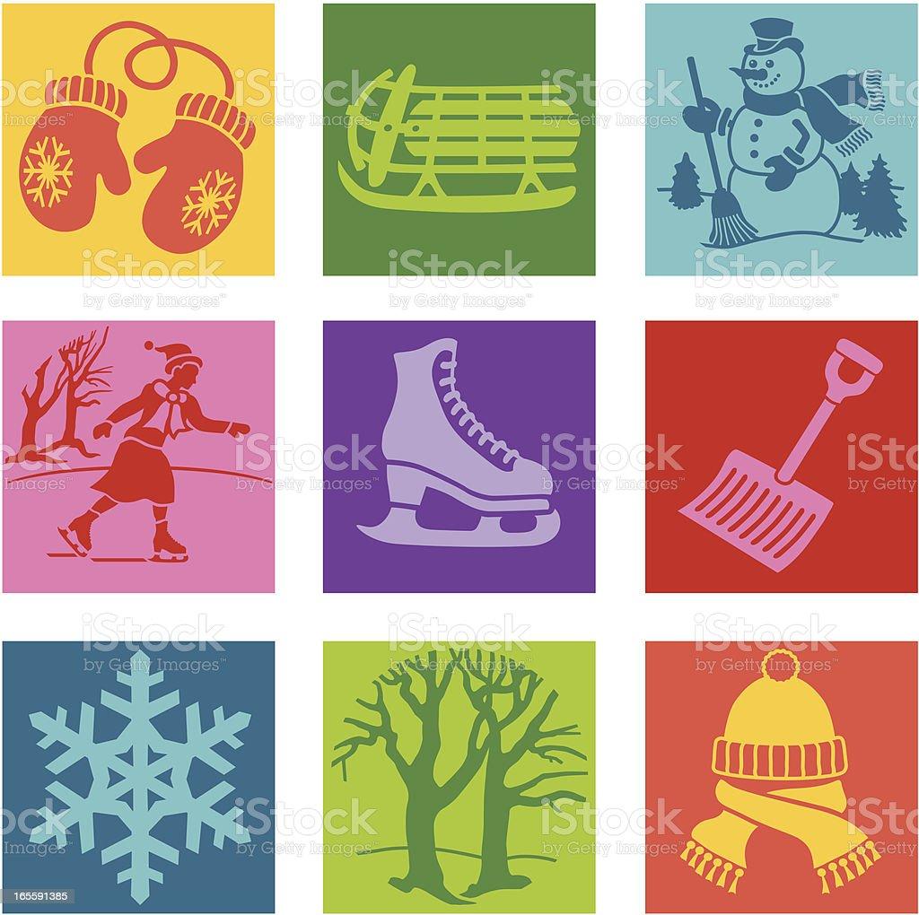 fun in the winter pop art royalty-free stock vector art