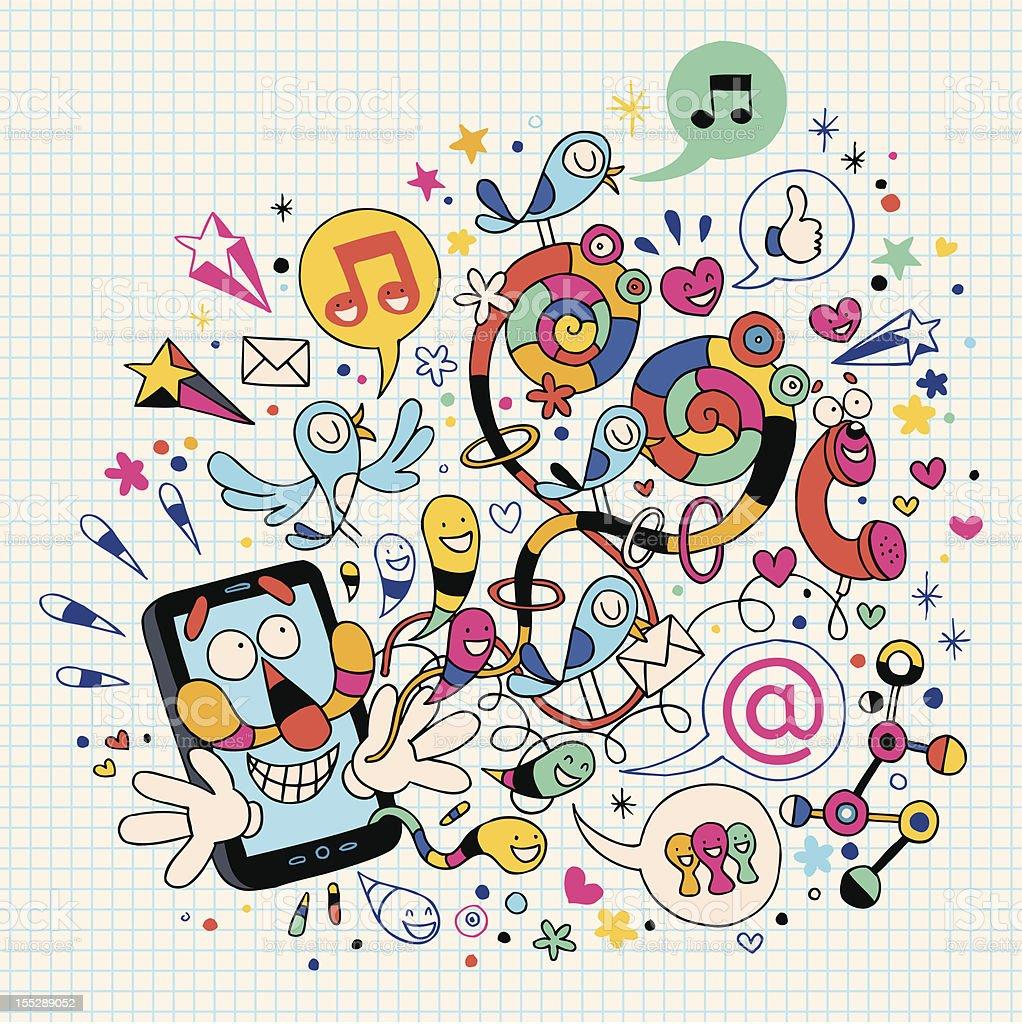 Fun mobile phone royalty-free stock vector art