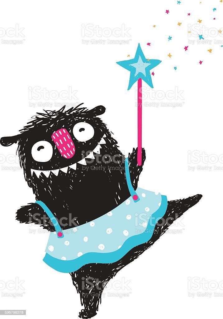 Fun Monster Dancing Princess Humorous Cartoon for Kids vector art illustration