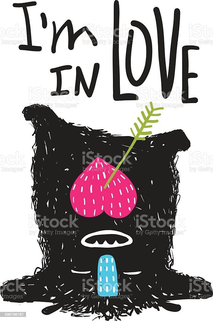 Fun Monster in Love Happy upside-down Cartoon for Kids vector art illustration