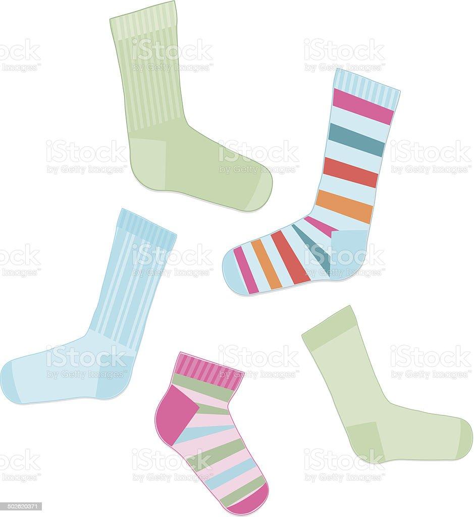 Fun, Multicolored Set of Socks royalty-free stock vector art