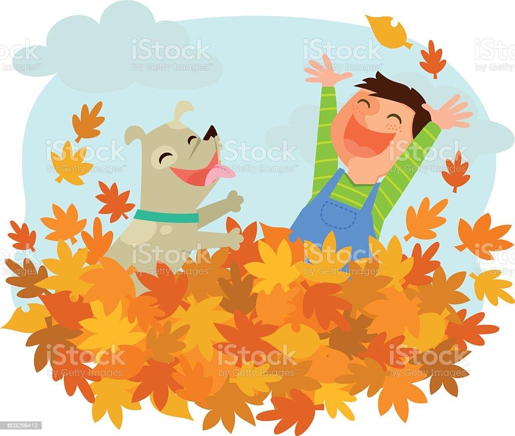 fun of autumn vector art illustration
