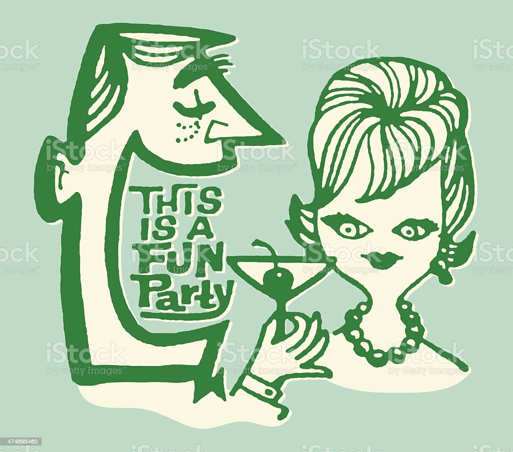 Fun Party Couple vector art illustration