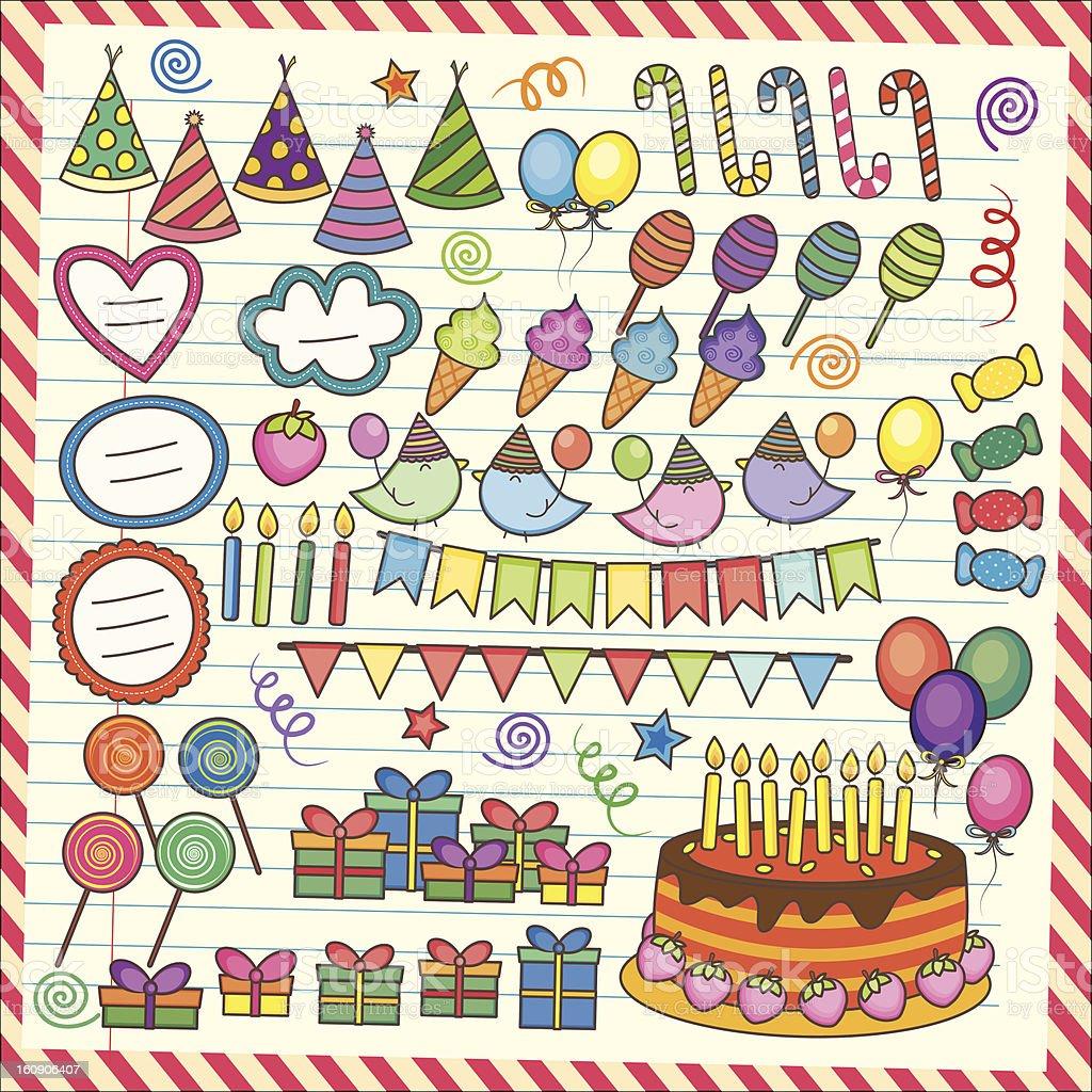 Fun Party Elements Clip Art Set royalty-free stock photo