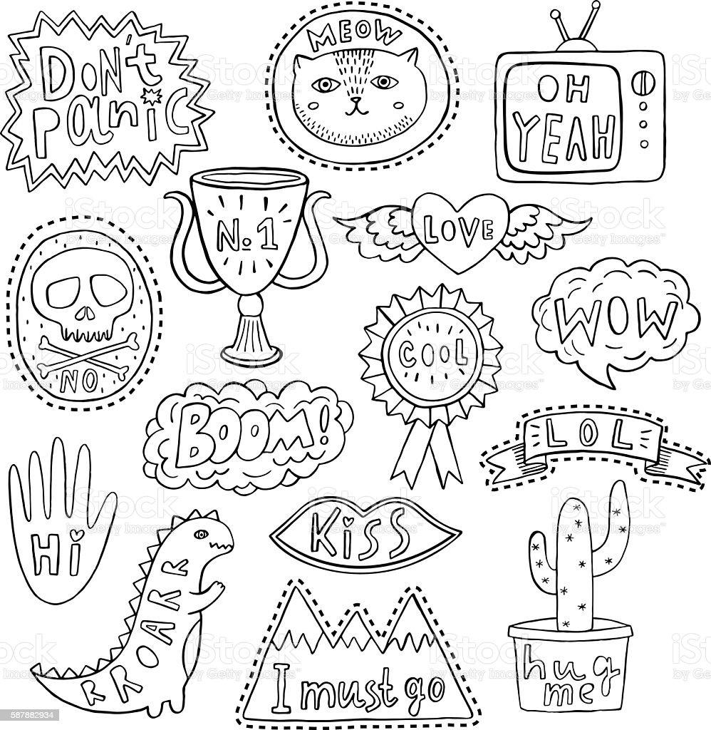 Fun patch set. Print pin, badge, sticker, collection vector art illustration