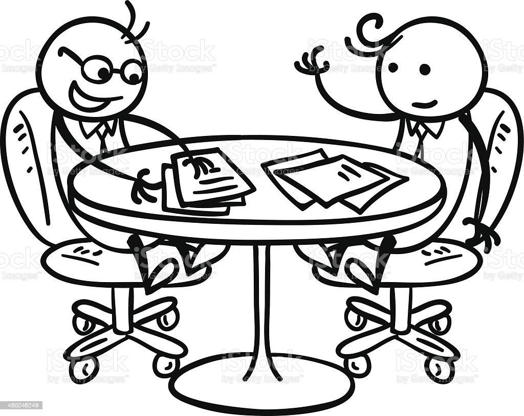 A fun pen drawing of a meeting vector art illustration