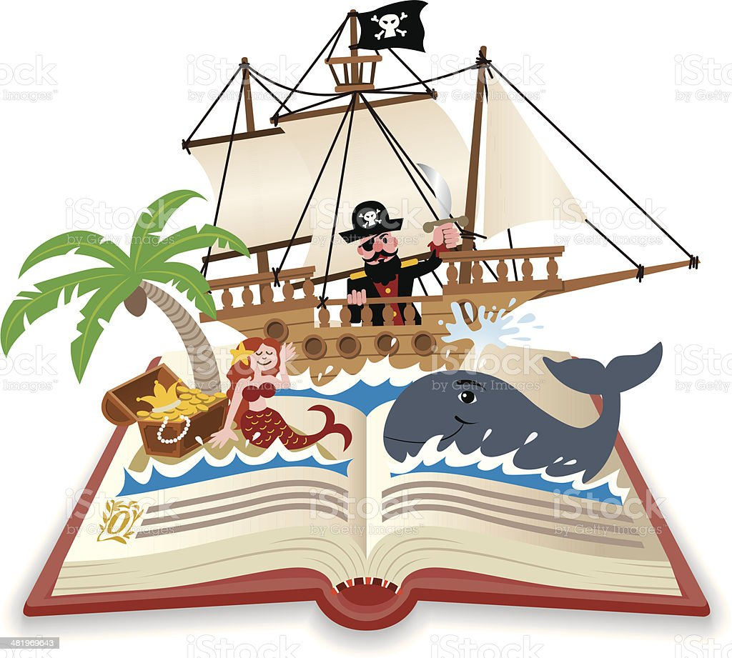 Fun Pop Up Book Adventure on the Sea vector art illustration