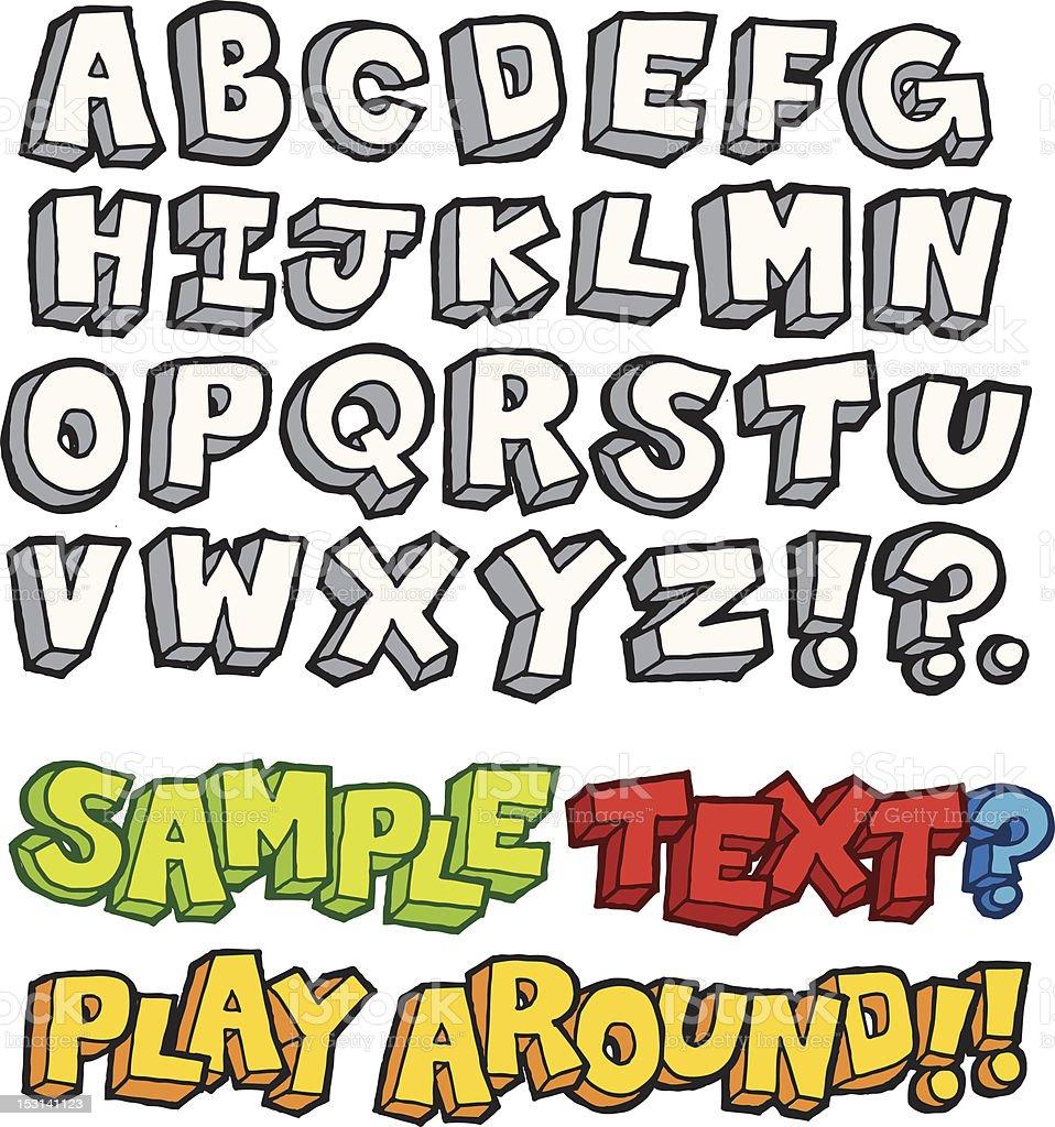 Fun Quirky Hand-Drawn Alphabet vector art illustration