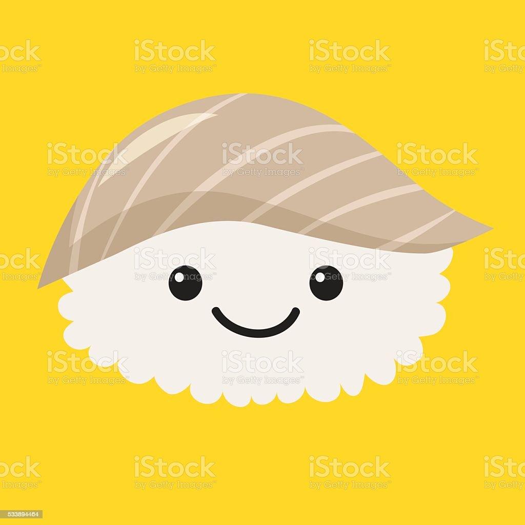 Fun sashimi vector cartoon character. Cute sashimi vector art illustration