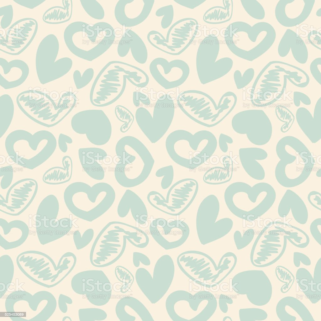 Fun seamless vintage love heart background in pretty colors. vector art illustration