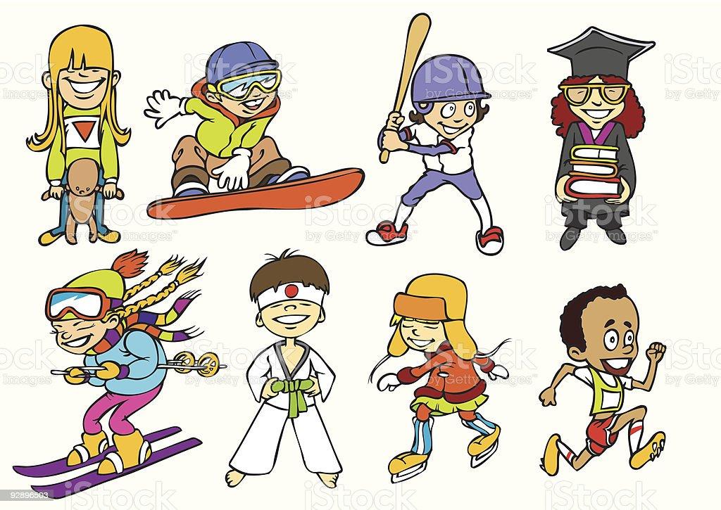Fun sport kids royalty-free stock vector art