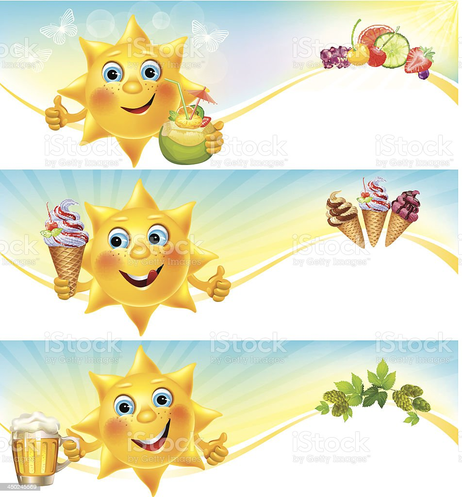 Fun sun with ice cream and cool drinks horizontal banners vector art illustration