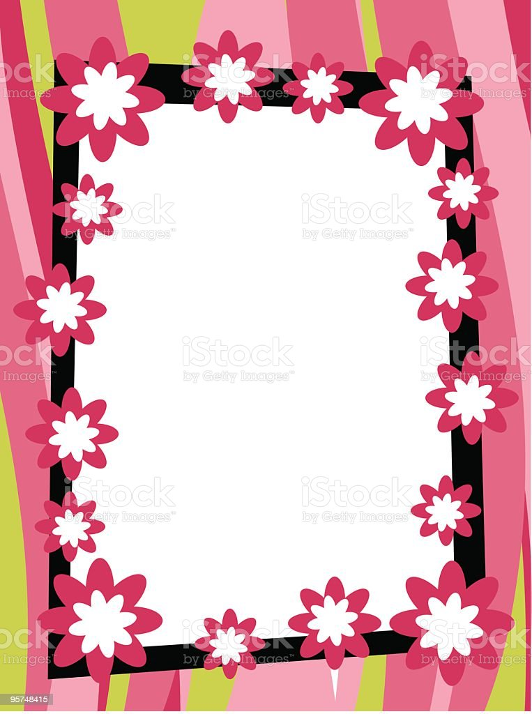 Fun wavy striped retro frame with flowers royalty-free stock vector art