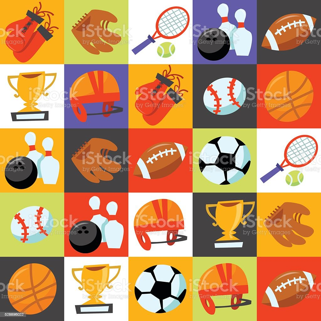 Fun Wonky Sporting Icons Tiles Background vector art illustration