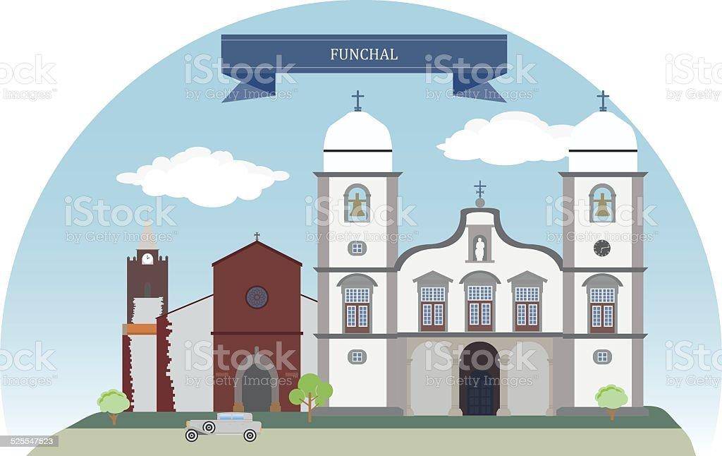 Funchal, Portugal vector art illustration