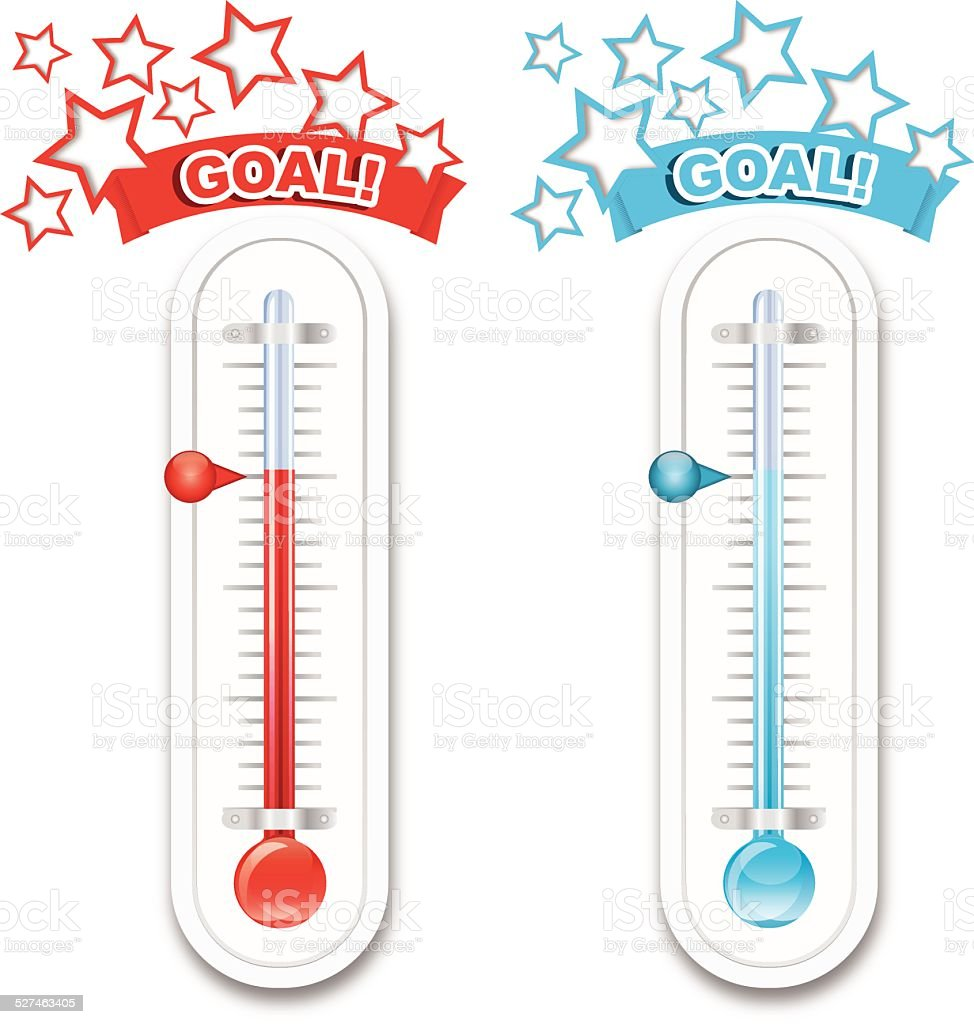 Fundraiser Goal Thermometers stock vector art 527463405 | iStock