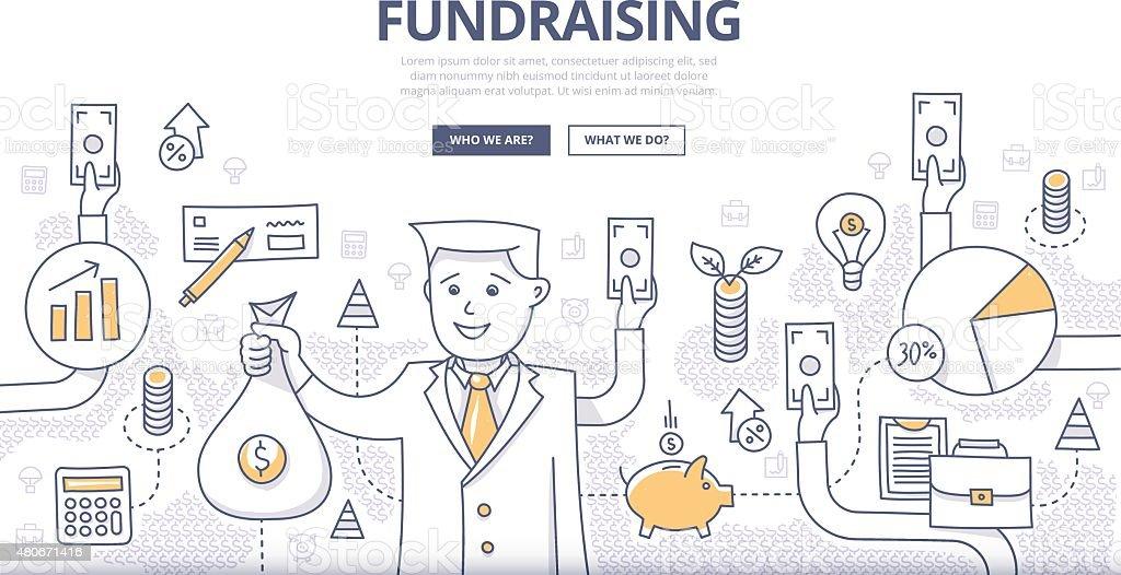 Fundraising Doodle Concept vector art illustration