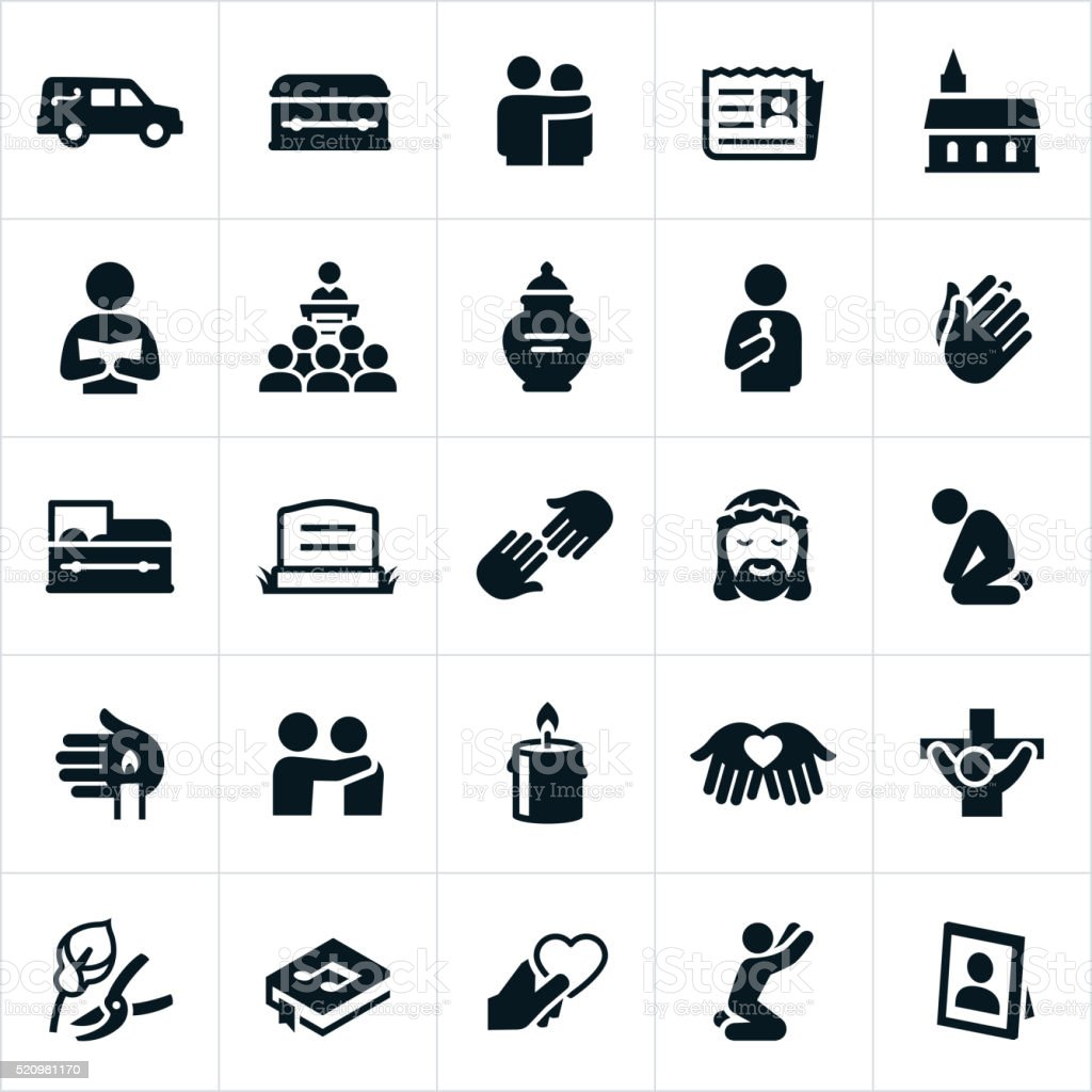 Funeral and Burial Icons vector art illustration