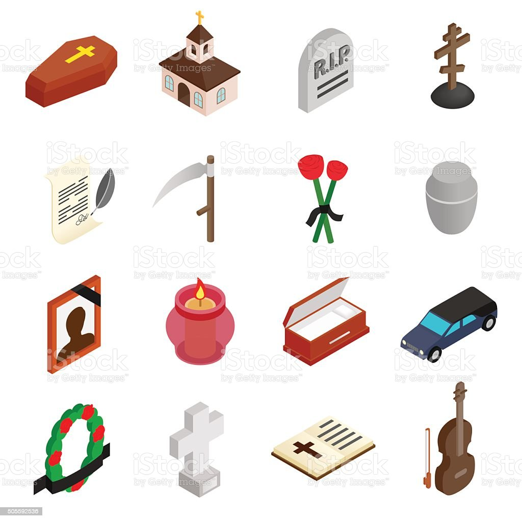 Funeral and burial isometric 3d icons vector art illustration