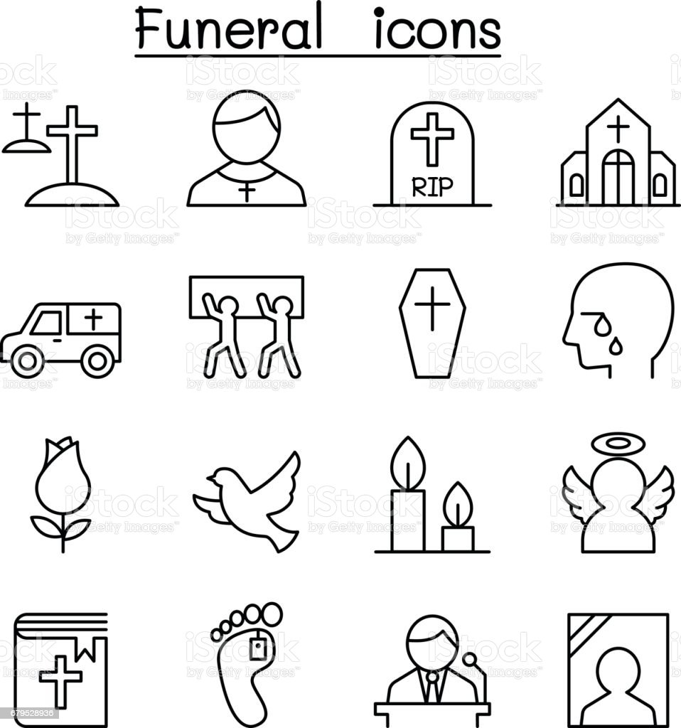 Funeral & burial icon set in thin line style vector art illustration