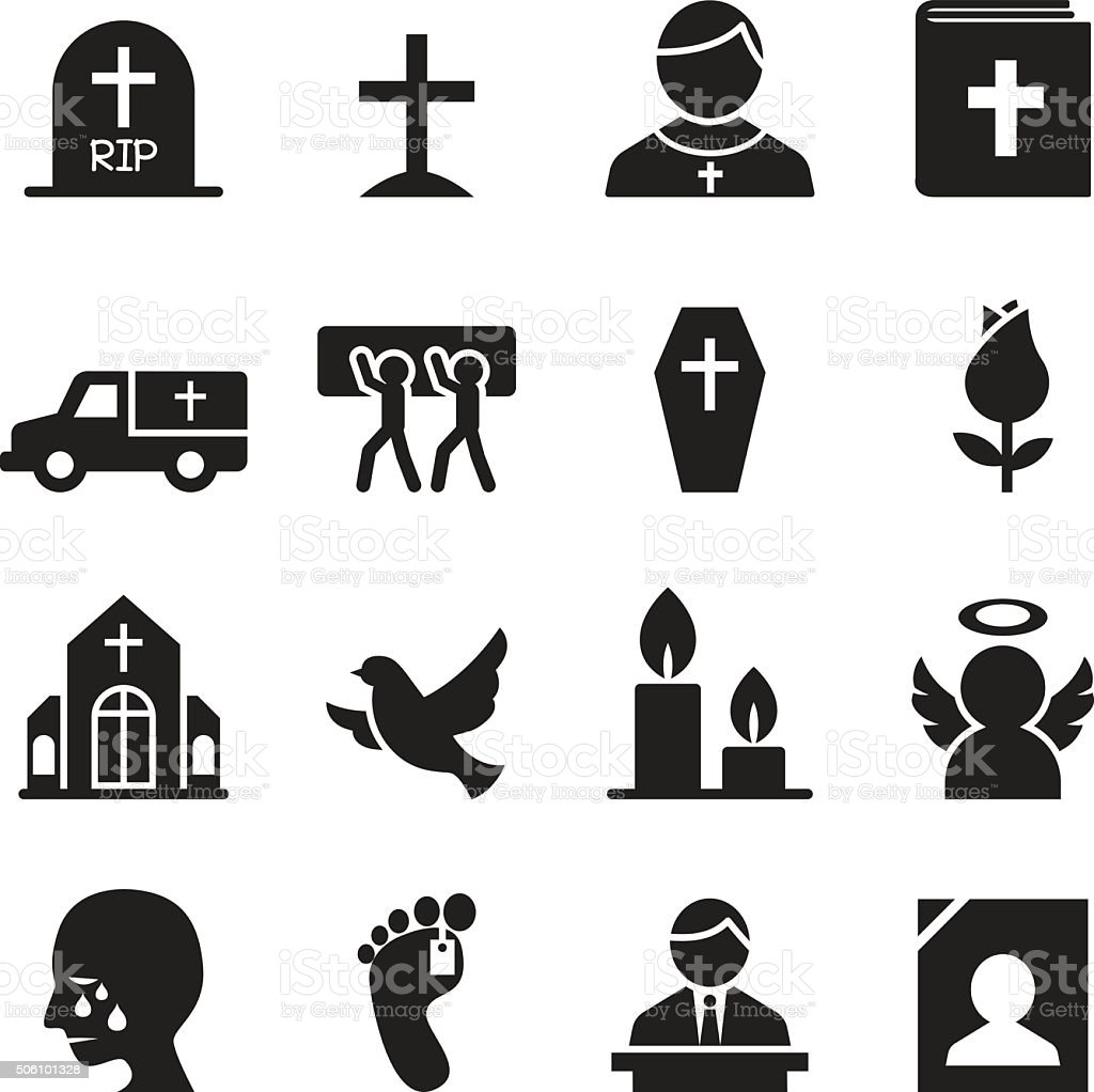 Funeral, Burial icon vector art illustration