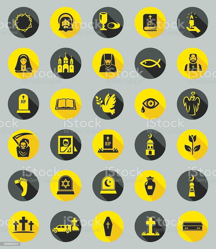 Funeral icons, flat design vector vector art illustration