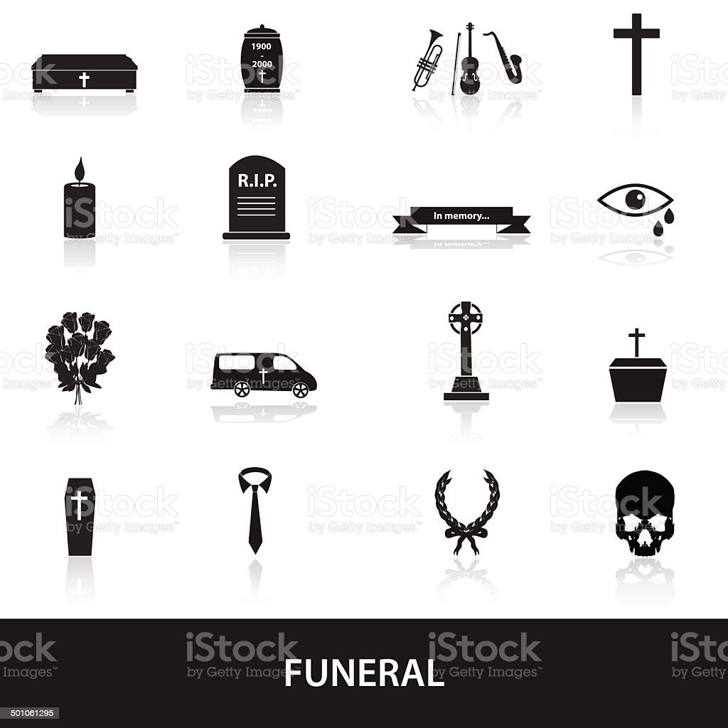 funeral icons set eps10 vector art illustration